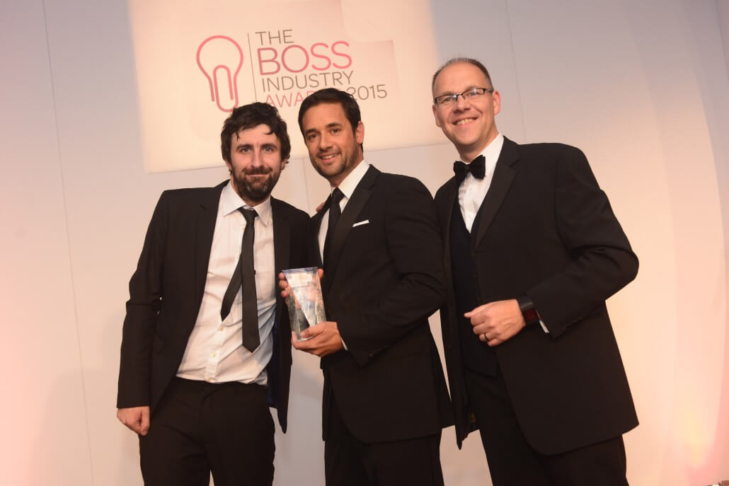 Red-Inc founder Adam Huttly receiving award at the BOSS Industry Awards
