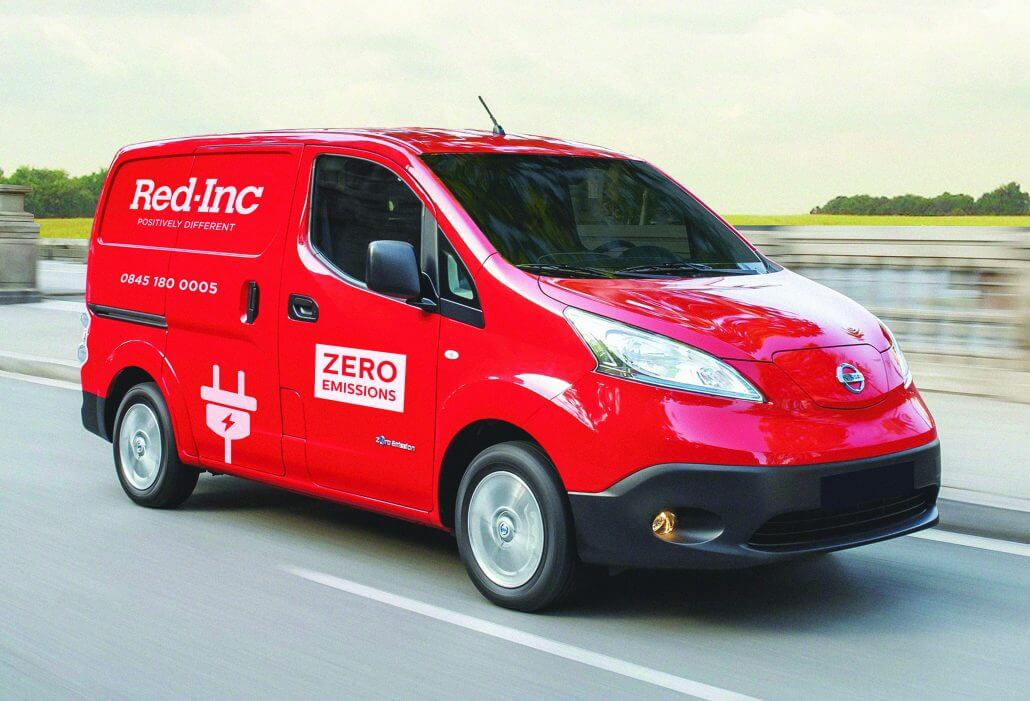 A photo of the Red-Inc zero emissions van