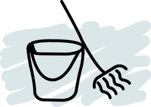 Bucket and mop icon
