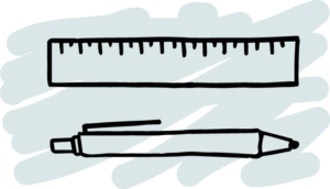 Pen and ruler stationery icon